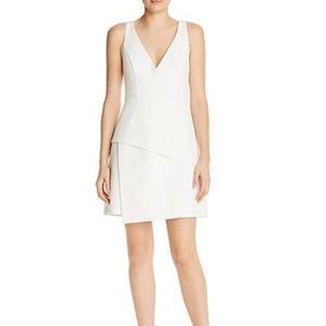 BCBGMAXAZRIA Tiered Crepe White Dress
